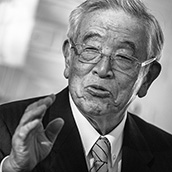 Dr. Shoichiro Toyoda, former chairman of Toyota Motor Corporation, speaks to dignitaries during an event celebrating the 17 years in operation of the Toyota Motor Manufacturing, West Virginia, Inc. (TMMWV) plant in Buffalo, WV. Executive Photography by Alex Wilson