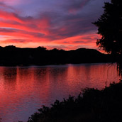Sunset over the Kanawha River in Bancroft, West Virginia.  Landscape Photograpy by Alex Wilson.