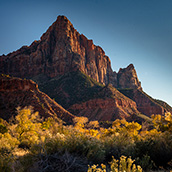 The Watchman at sunset in Zion National Park in southwest Utah.  National Park Photograpy by Alex Wilson.