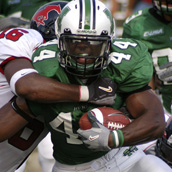Marshall University running back Ahmad Bradshaw carries the ball against Southern Methodist University at Joan C. Edwards stadium on the campus of Marshall University in Huntington, WV.  Event Photography by Alex Wilson