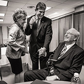 Senators John D. Rockefeller IV (D-WV) and Joe Manchin III greet each other back stage at the 2013 Jefferson-Jackson Dinner in Charleston, WV.  Event Photography by Alex Wilson