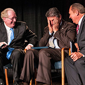 Former WV Governors John D. Rockefeller and Joe Manchin III joke with current WV Governor Earl Ray Tomblin at an event at Toyota Motor Manufacturing, West Virginia, Inc., (TMMWV) celebrating production of the plant's 10 millionth powertrain unit.  Event Photography by Alex Wilson