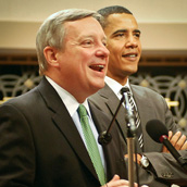 Sen. Dick Durbin (D-Illinois) and Sen. Barack Obama (D-Illinois) addressing the audience at a breakfast for Illinois constituents in Washington, D.C.  Event Photography by Alex Wilson