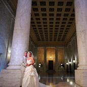 Wedding portraits of Lisa and Rick Otten at the West Virginia State Capitol in Charleston, WV.  Wedding photography by Alex Wilson.